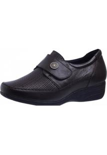 Sapato Anabela Doctor Shoes 3145 Marrom Escuro