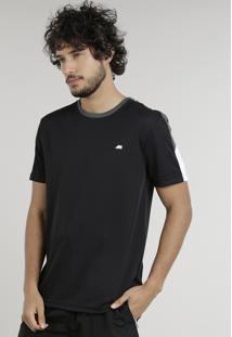 Camiseta Masculina Esportiva Ace Manga Curta Gola Redonda Preta