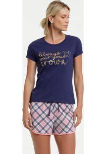 Pijama Feminino Estampa Coração Manga Curta