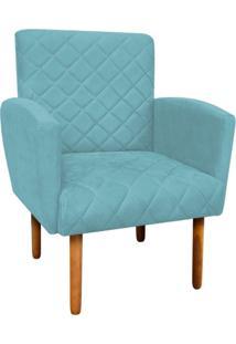 Poltrona Decorativa Veronês Para Sala E Recepção Suede Azul Tiffany - D'Rossi