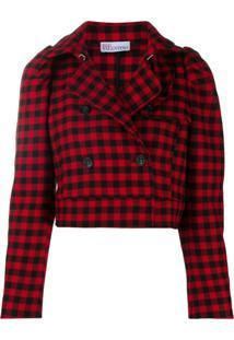 Redvalentino Gingham-Check Cropped Jacket - Vermelho