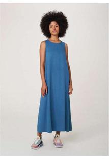 Vestido Midi Sem Manga Evasê Em Tecido Azul