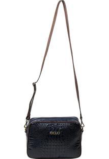 Bolsa Em Couro Recuo Fashion Bag Croco Azul