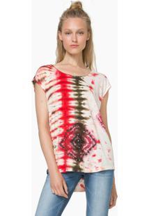 Blusa Desigual Tie Dye Rosa/Cinza