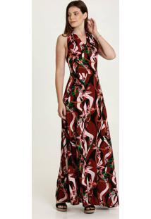 Vestido Feminino Longo Estampa Floral Frente Única