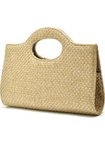 Bolsa De Mão De Festa Hendy Bag Palha Dourada
