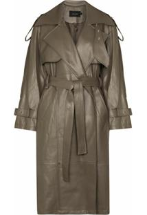 Low Classic Trench Coat Com Cinto - Verde
