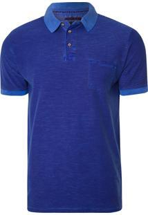 Camisa Polo Masculino Piquet Flame Mil Risquinhos - Azul