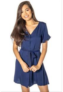 Vestido Dwz Curto Botao Liso Feminino - Feminino-Azul