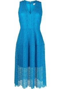 Michael Michael Kors Vestido Com Sobreposição De Crochê - Azul