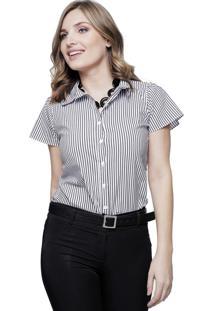 Camisa Feminina Sob Listrada Manga Curta Algodão