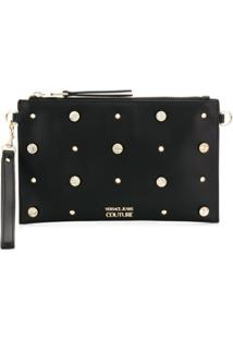 Versace Jeans Couture Crystal Embellished Crossbody Bag - Preto
