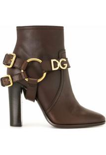 Dolce & Gabbana Ankle Boot Com Fivela Dg - Marrom