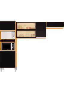 Cozinha Compacta 7 Portas E 1 Gaveta Aline-Poquema - Damasco / Preto