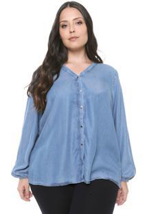 Camisa Cativa Plus Botões Azul