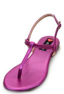 Sandália Rasteira Love Shoes Flat Slim Fio Dental Metalizada Pink - Tricae