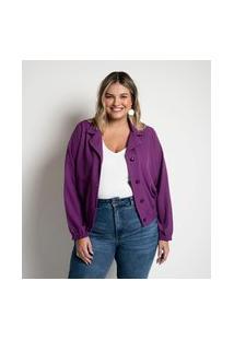 Jaqueta Cropped Em Crepe Sem Estampa Curve & Plus Size | Ashua Curve E Plus Size | Roxo | G