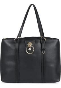 Bolsa Shopping Bag Feminina Recortes Preto Preto
