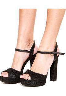 Sandália Dafiti Shoes Meia Pata Lurex Preta