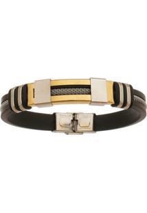 Bracelete De Aço Inox Gold Tudo Joias Com 12Mm De Largura E Cabo - Unissex-Dourado