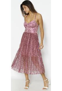 Vestido Em Renda - Rosa - Alfredaalfreda
