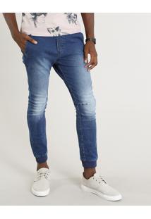 Calça Jeans Masculina Jogger Com Cordão Azul Médio