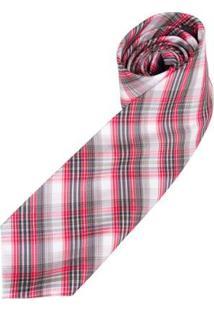 Gravata Colombo Xadrez Masculina - Masculino-Vermelho
