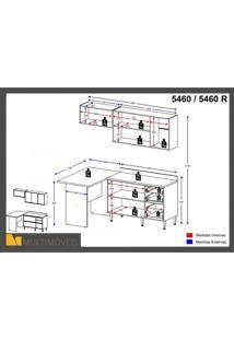 Cozinha Completa 5 Módulos 6 Portas E Rodapés Calábria Multimóveis Nogueira/Branco Texturizado