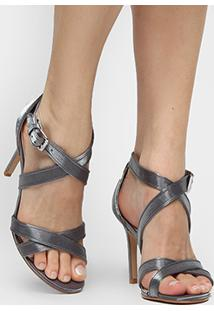 Sandália Shoestock Festa Glitter - Feminino-Prata