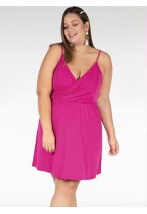 Vestido Curto Pink Transpassado Plus Size