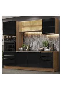 Cozinha Completa Madesa Lux 240002 Com Armário E Balcáo - Rustic/Preto Marrom
