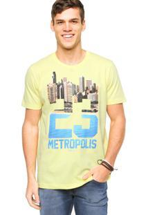Camiseta Manga Curta Colcci Slim Urbana Amarela