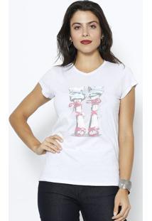Camiseta Sandálias - Branca & Pinkclub Polo Collection