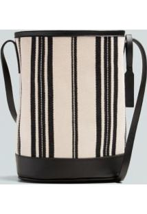 Bolsa Bucket Lona Listras Eco-Cru/Preto - Un