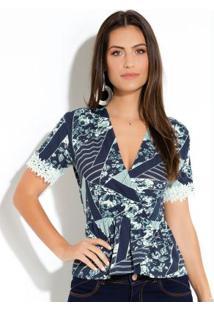 Blusa Floral E Azul Com Transpasse