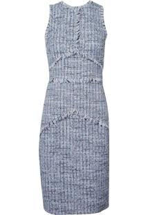 Vestido Le Lis Blanc Natalia Midi Alfaiataria Azul Feminino (Azul Claro, 48)
