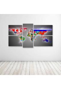Quadro Decorativo - Flags World Map - Composto De 5 Quadros - Multicolorido - Dafiti