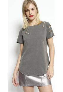 Camiseta Com Rasgados- Cinzadimy