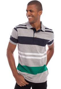 Camisa Polo Aleatory Listrada Show Masculina - Masculino-Cinza