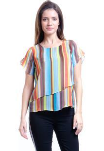 Blusa 101 Resort Wear Folhas Chifon Listrado Multicolorido