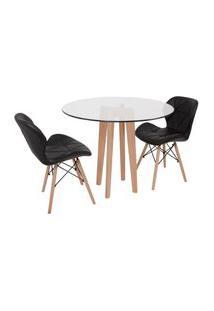 Conjunto Mesa De Jantar Em Vidro 90Cm Com Base Vértice + 2 Cadeiras Slim - Preto