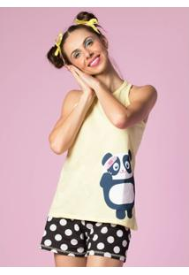 Pijama Curto Puket Regata Nadador Panda Ban-Daid - Feminino