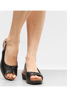 Sandália Couro Plataforma Usaflex Chanel Laser Feminina - Feminino