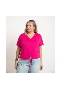 Blusa Lisa Com Amarração E Puxadinho Frontal Rosa