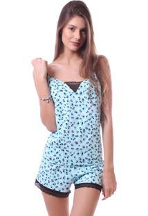 Pijama Simony Lingere Shorts Doll Plus Size New Confort E Renda Azul - Kanui