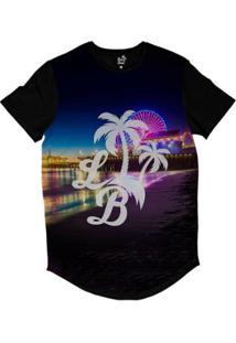 Camiseta Longline Long Beach Lb Santa Monica Sublimada Colors - Masculino-Preto