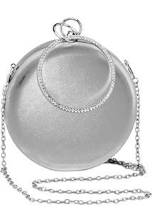 Bolsa Clutch Liage Redonda Alça Removível Argola Punho Metalizada Metal Strass Cristal Pedra Prata