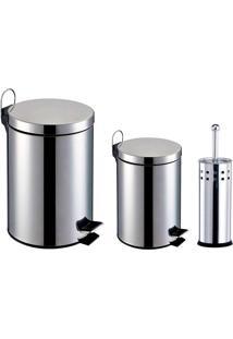 Kit Banheiro 3 Peças: Lixeiras Em Aço Inox Com Capacidade Para 3 E 5L + Escova Sanitária Com Cerdas Flexíveis E Suporte Em Aço Inox - Home&Garden