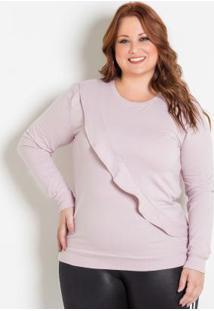 Casaco Rosa Plus Size Com Babado Frontal