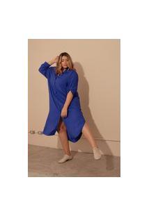 Vestido Chemise Longo Com Fendas Viscolinho Plus Size Azul